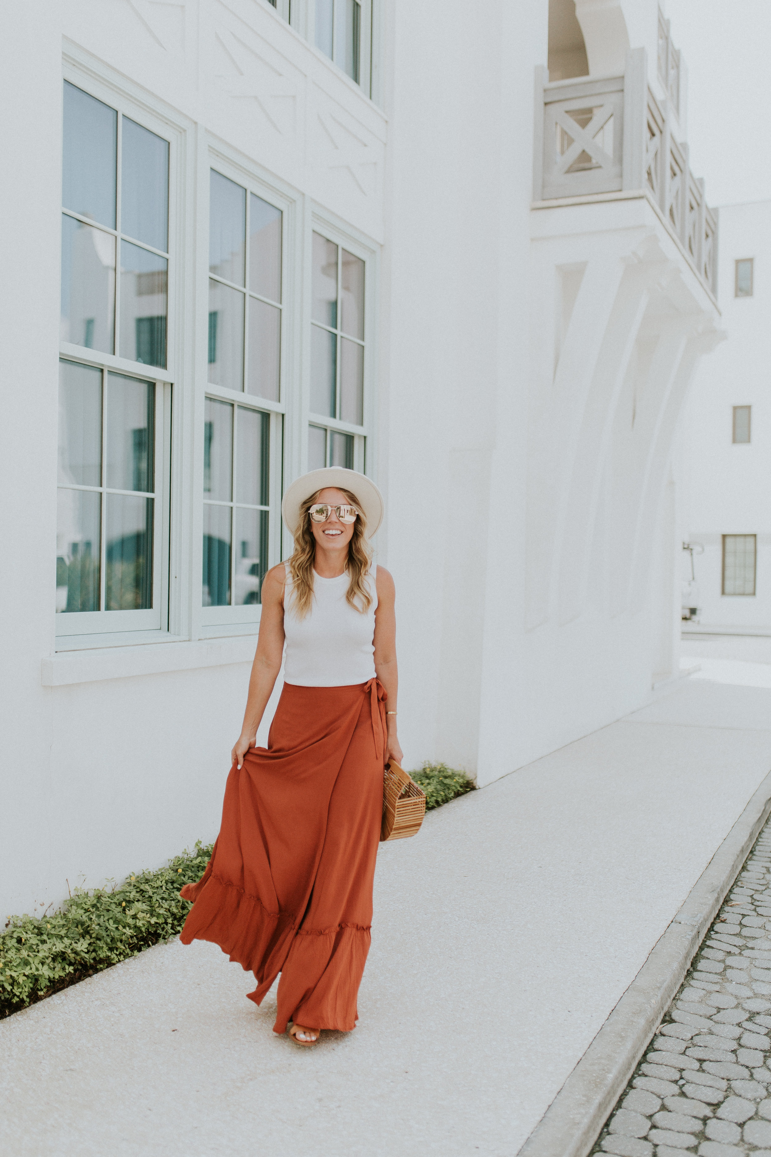 Blogger Gracefully Taylored in Revolve Skirt and Lack of Color Hat(2).jpg