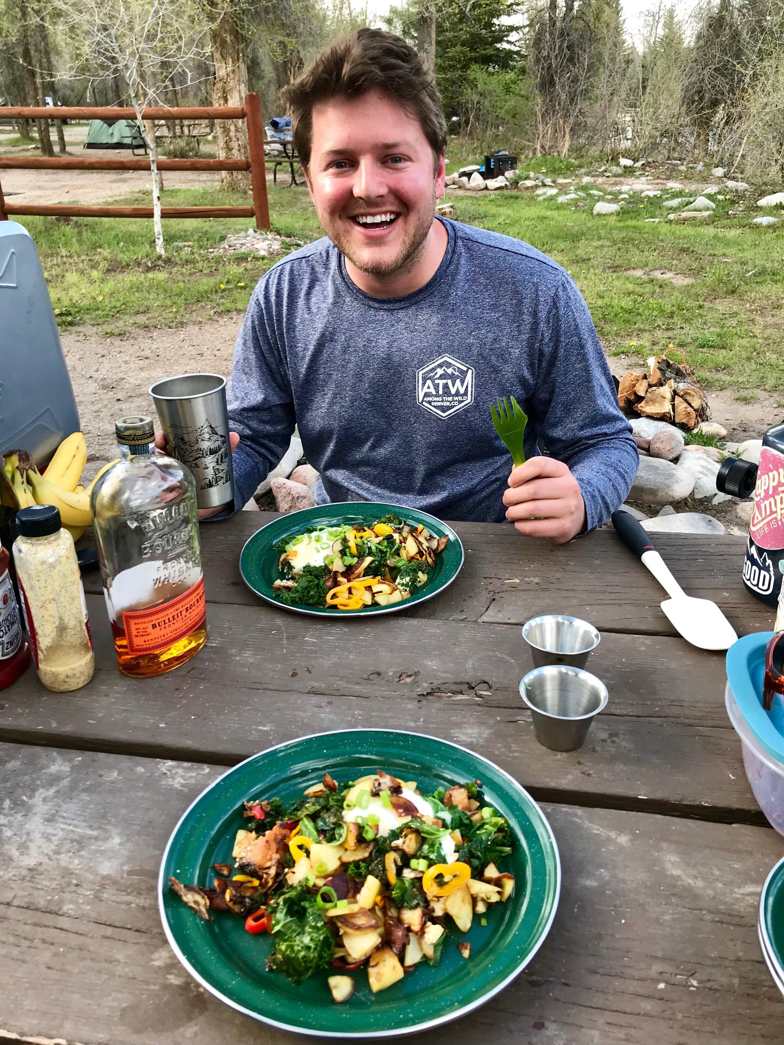 Happy camper, dinner is served!