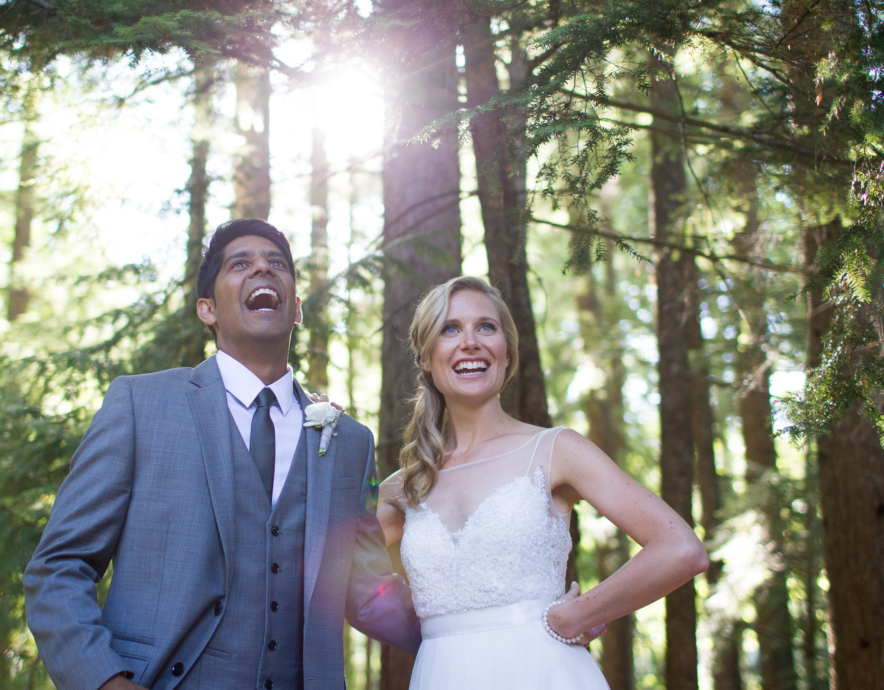 bride and groom natural forest sunlight happiness celebration wedding
