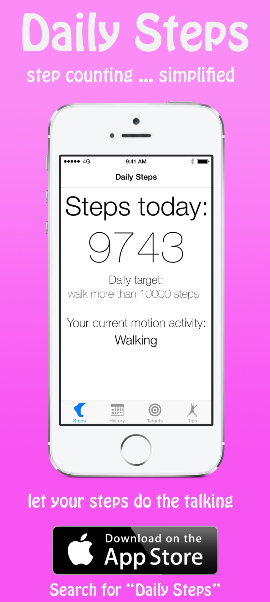 Found this neat little advertisement for my app,  Daily Steps . It was quite a while ago when I made it. I still love it today. It's simple, yet effective…