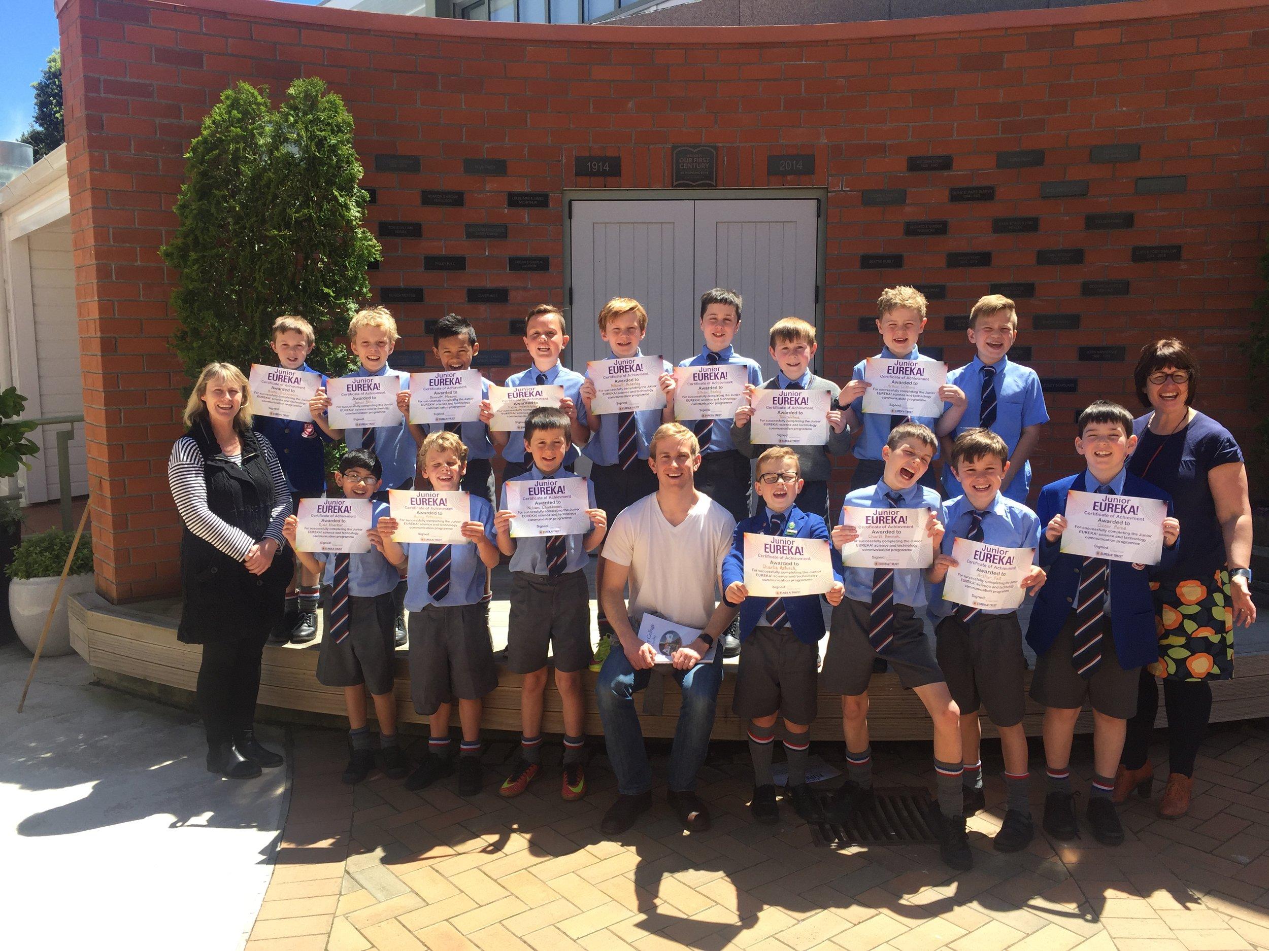 Welesly Boys Recieve Their Certificates from Old Boy Evan Brenton-Rule (Sir Paul Callaghan Premier Award Winner 2013)