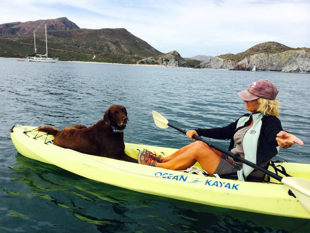 Kayaking with the family pet in San Juanico.