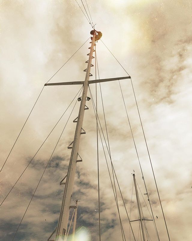 Up the mast. #aboardharmony