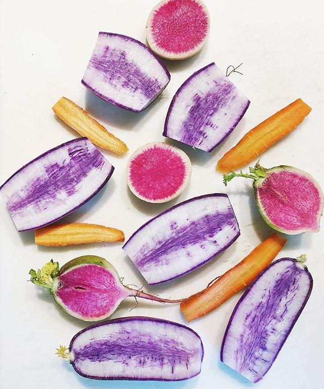 Winter roots brighten our days! Look at these beautiful watermelon + purple radishes + carrots from @siena_farms! 😍 #eattherainbow #sienafarms #sienafarmscsa #wintervegetables #eatseasonal #eatlocal #eatlocalgrown #nefarms #rootvegetables