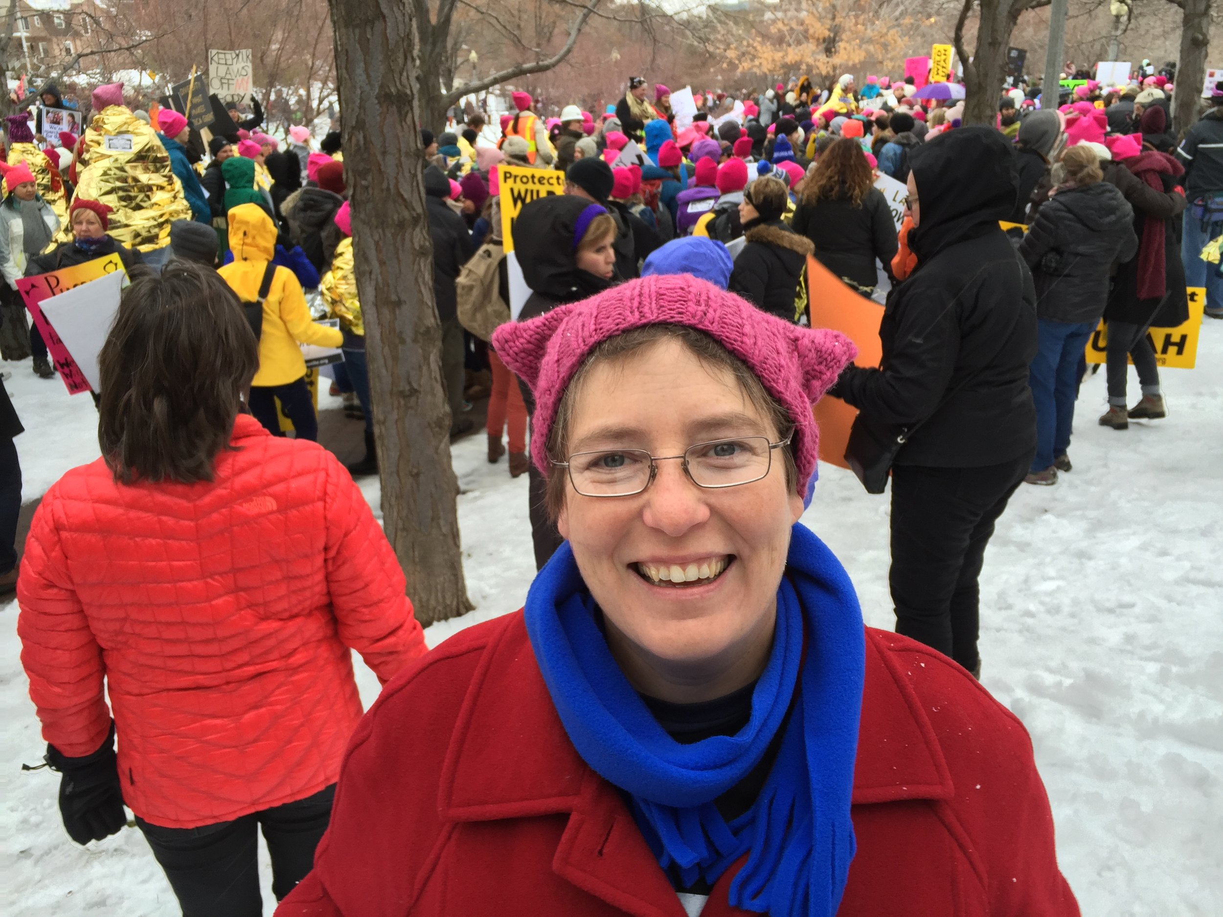 Stacy Palen at a women's march in Salt Lake City (January 23, 2017) Photo by Andrea Smardon