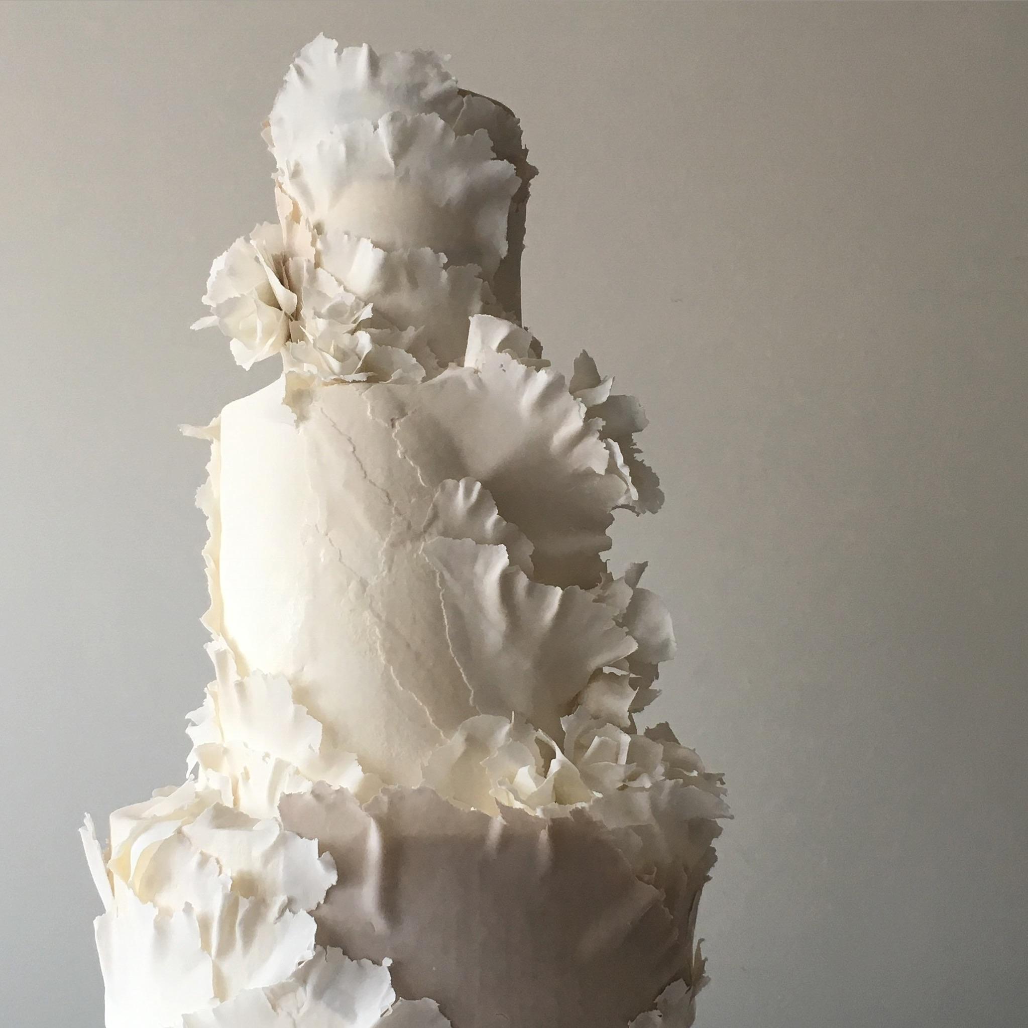 """torn paper """"wedding cake"""" grey white"""