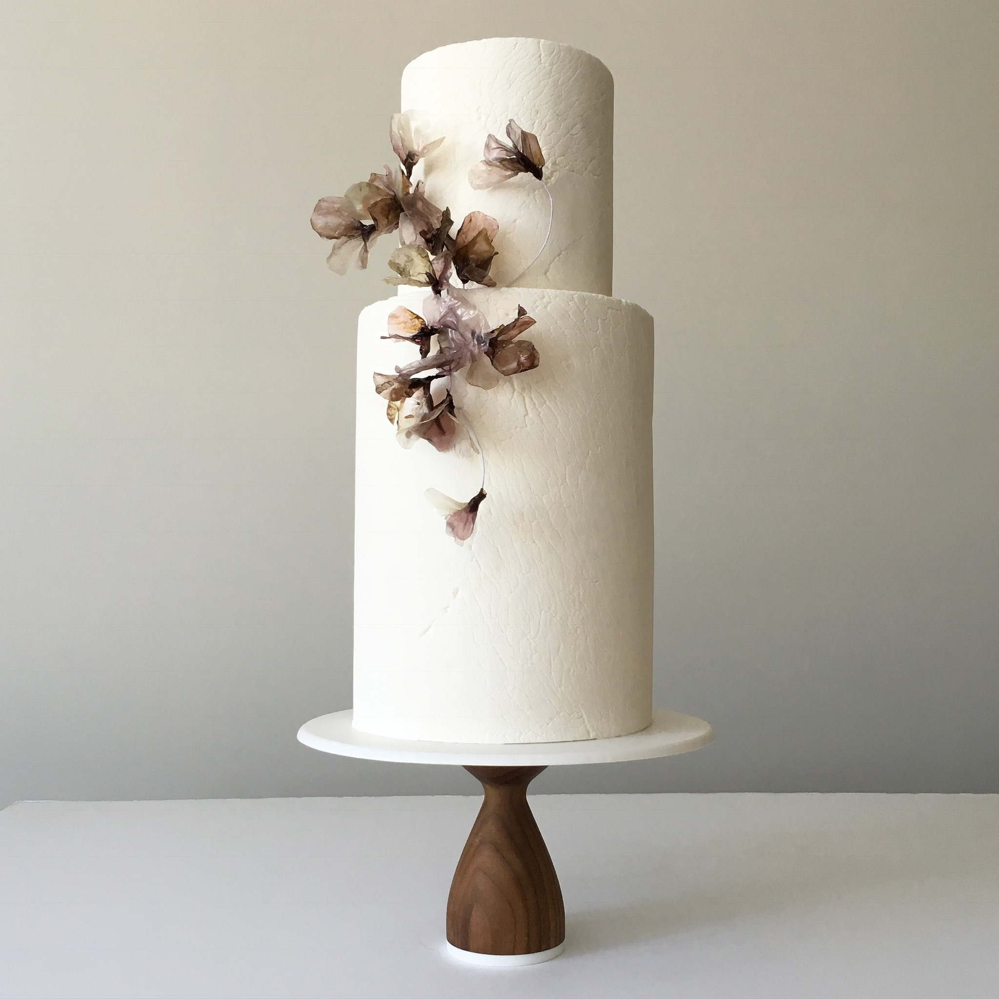 "white crackle ""rice paper"" flowers ""wedding cake"""