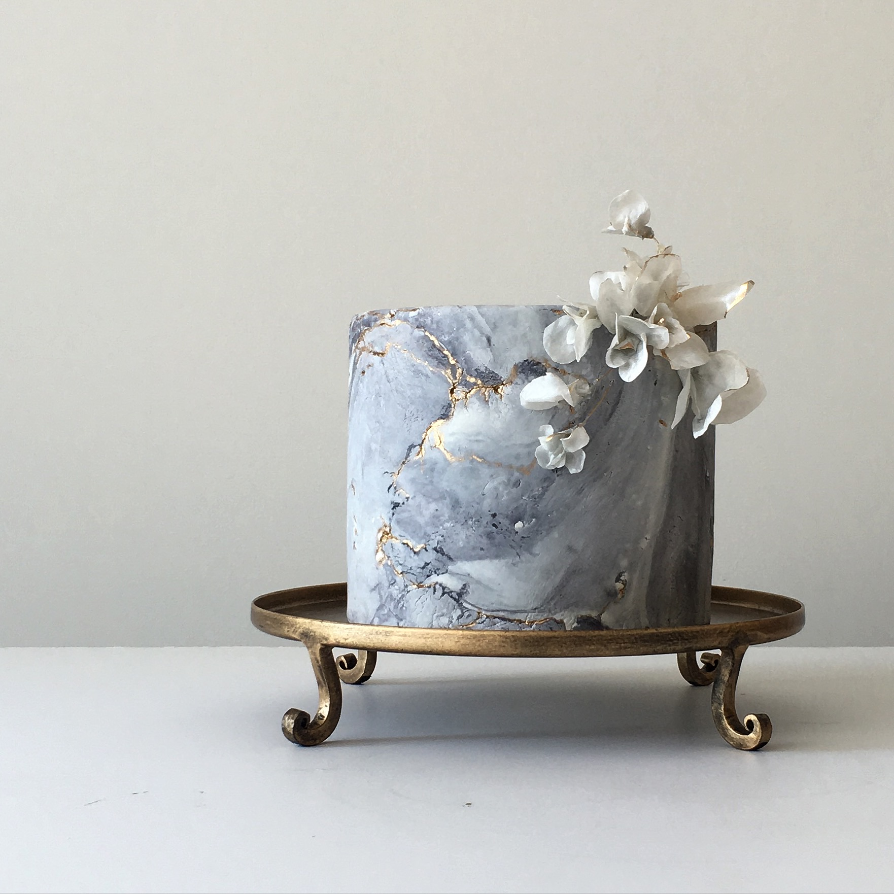 "grey marble ""wedding cake"" ""rice paper"" flowers"
