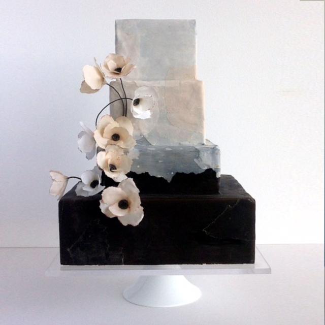 watercolor wedding cake sugar flowers