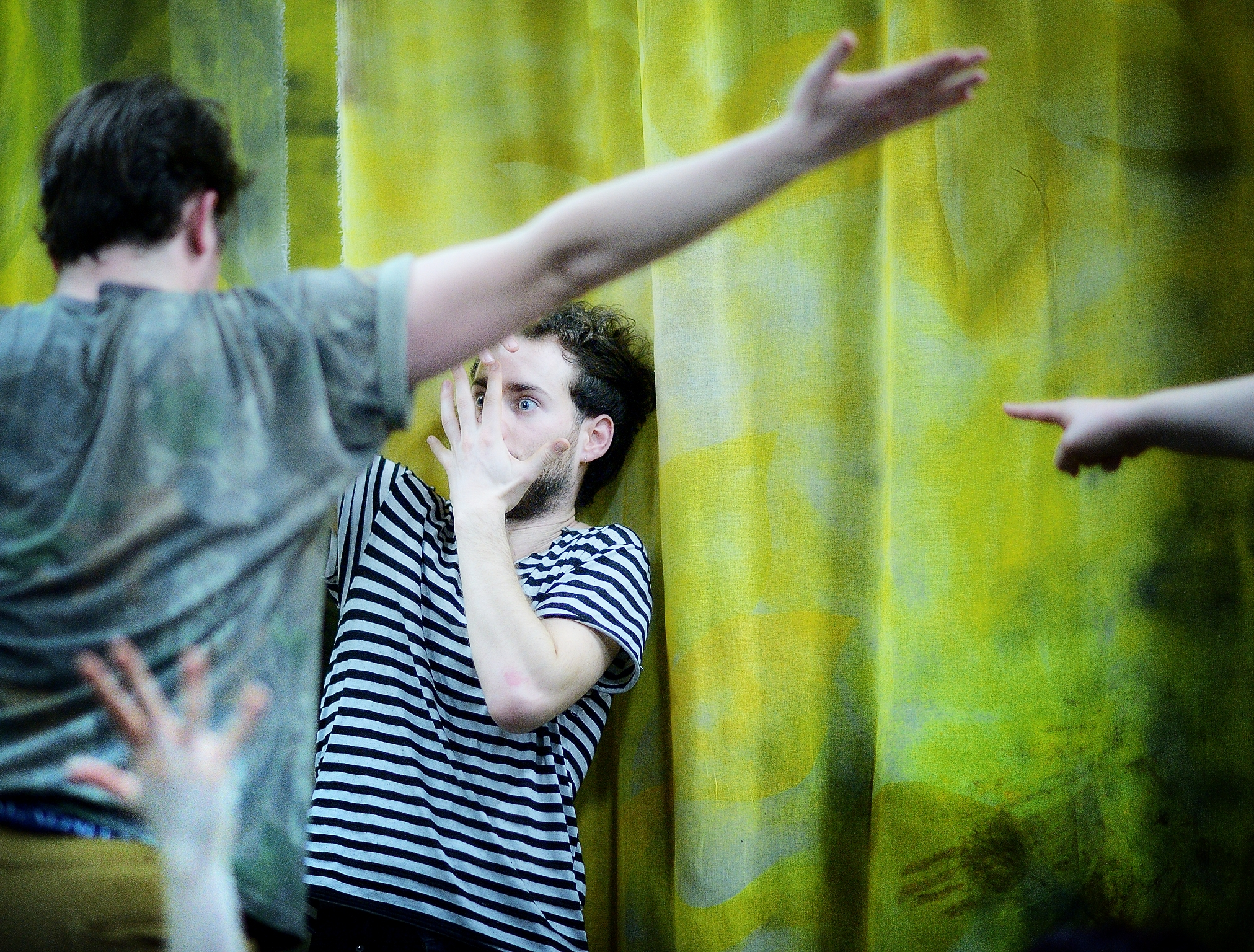 Performers  Joe Cummings  (featured) and  Jordan Moeller  rehearsing for   DangerSwitch!'s  Into the Deeps . Premiering  June 8-17  at Theater Off Jackson. Directed by  Eddie DeHais  and  Alyza DelPan-Monley .  Photo credit:  Joe Iano