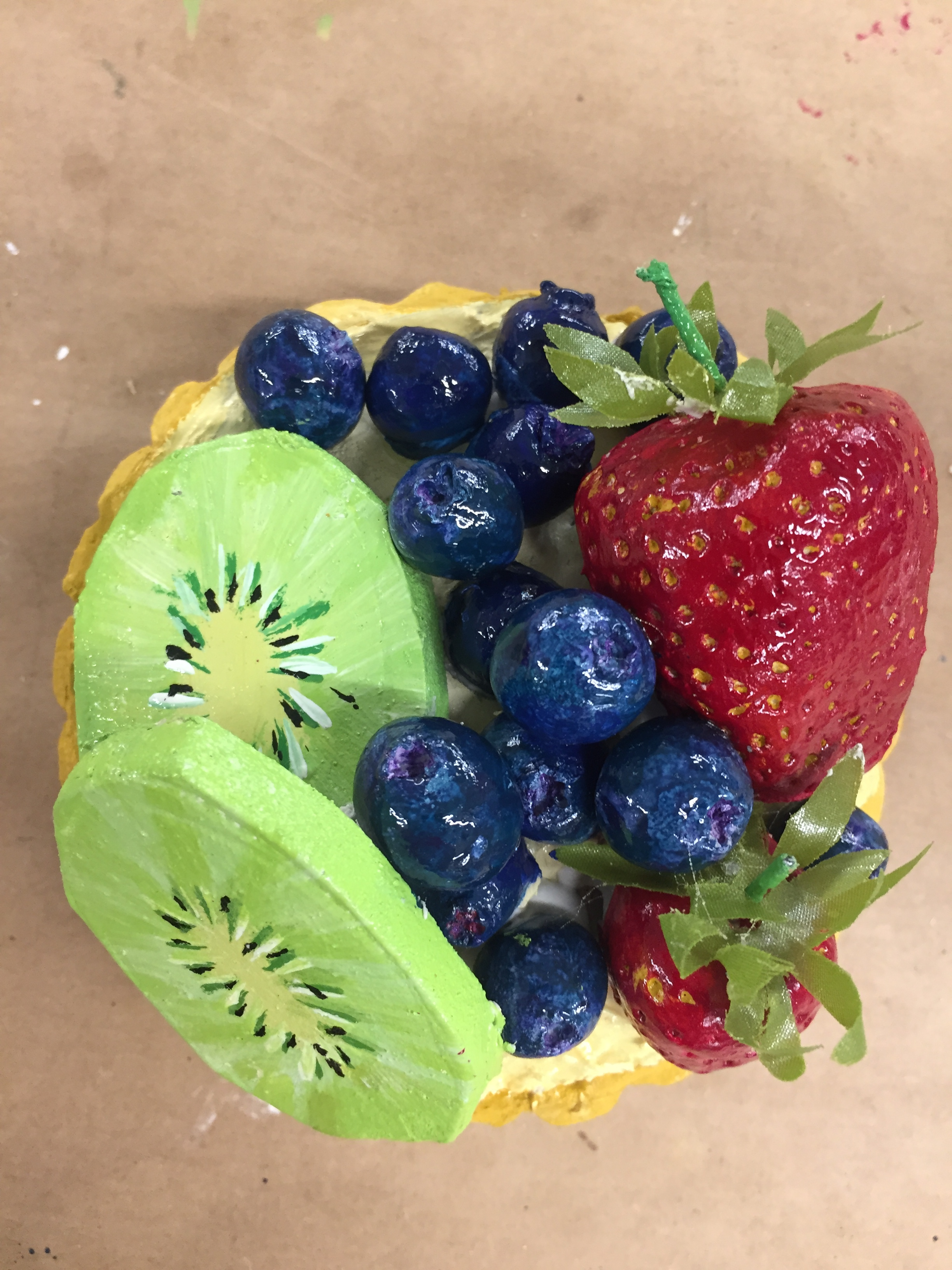 Fruit Tart   Sculpted from paper clay and painted.