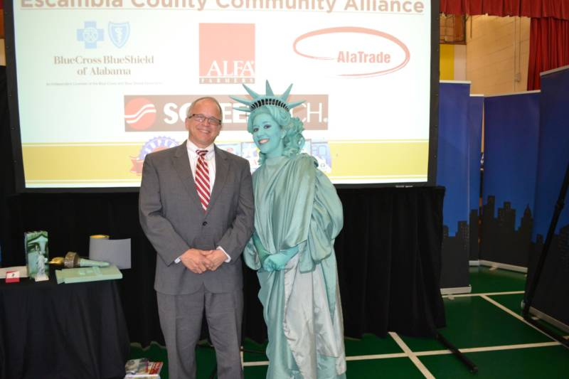 Chris George with Libby Liberty at the Next Great American tour kick-off event at Brewton Elementary school on January 26th, 2017.