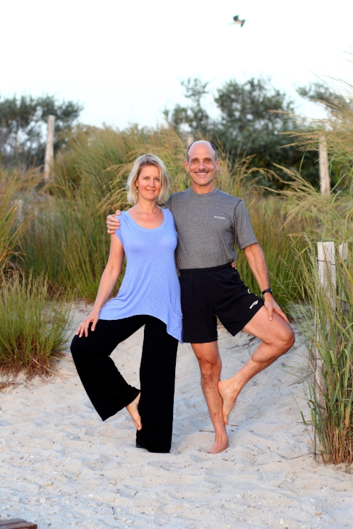 My husband, Dr. Joel Clyman, and I striking a partner yoga pose in 2012. He hasn't left my side since we met in early 2006, around the time of my diagnosis of vulvodynia.