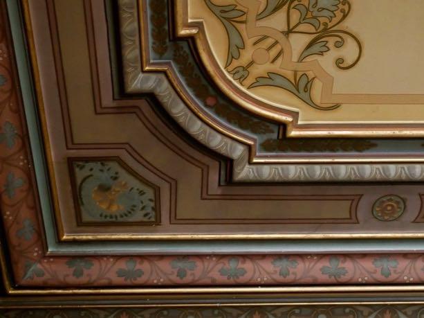 Handprinted ceiling in living room