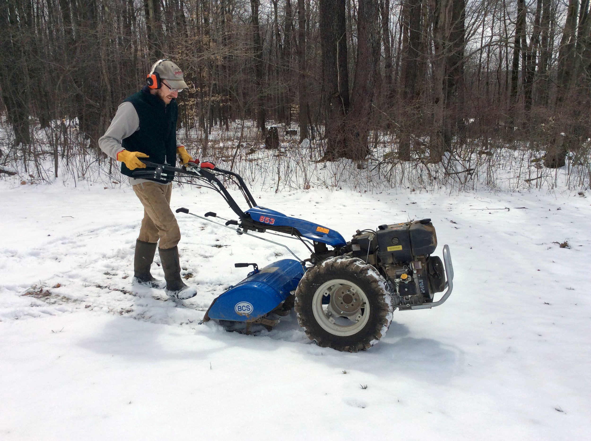Jason tilling up snow with the BCS.