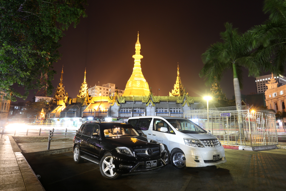 The Sule Pagoda shines brightly in the evenings