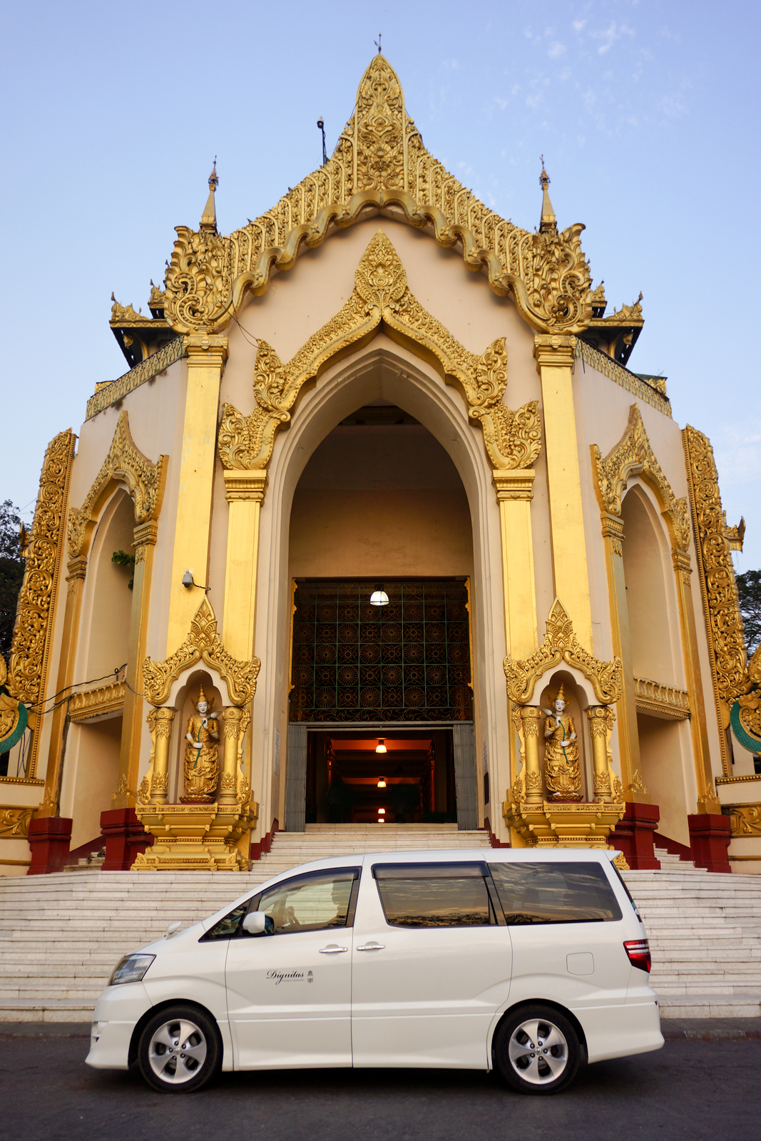 The entrance of the Shwedagon Pagoda, best seen during sunset