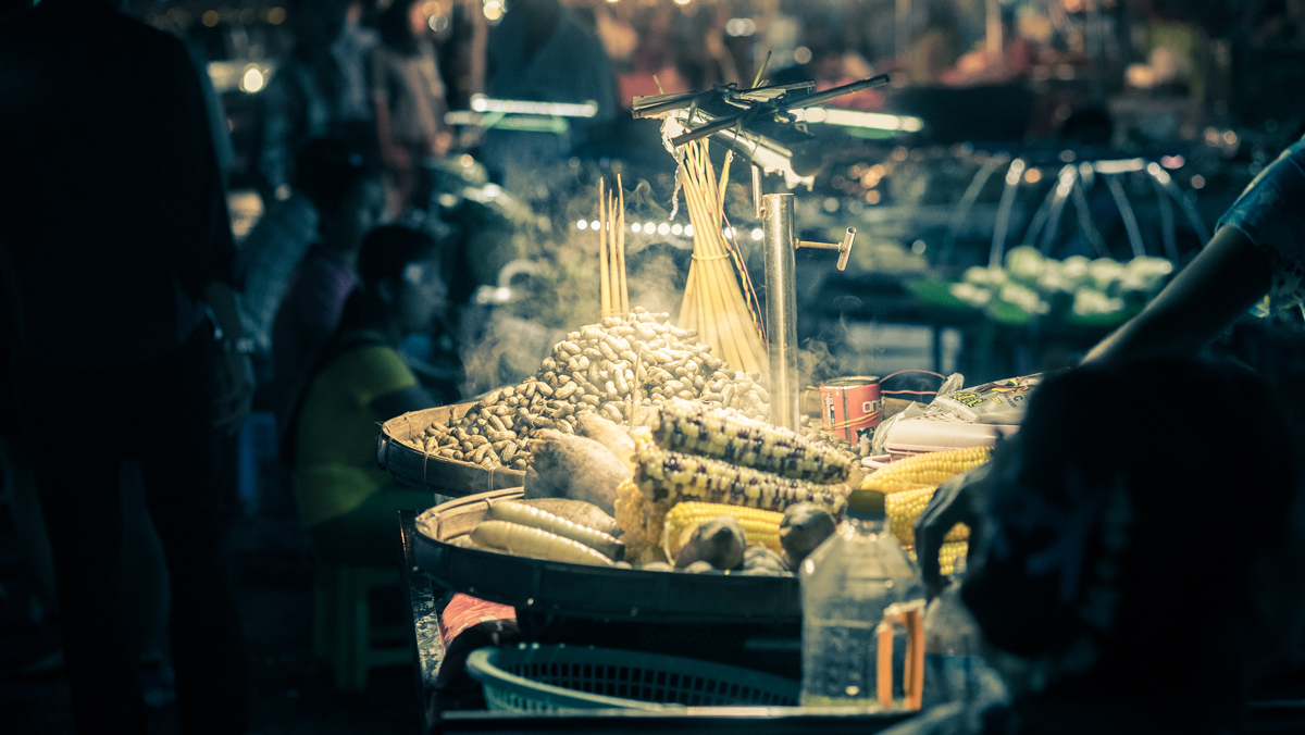The night market in Yangon is home to many local delicacies