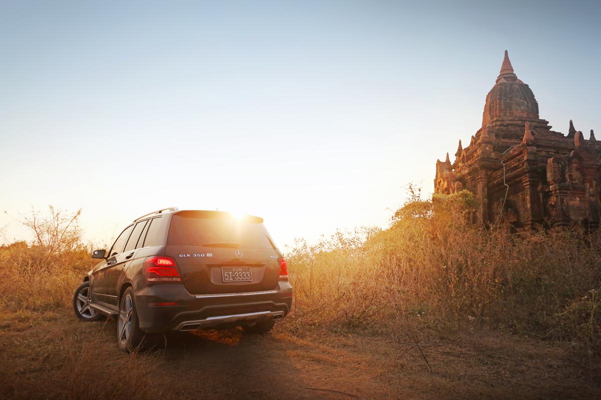 Dignitas' Mercedes GLK goes off-road to visit hard to reach Pagodas in Bagan.