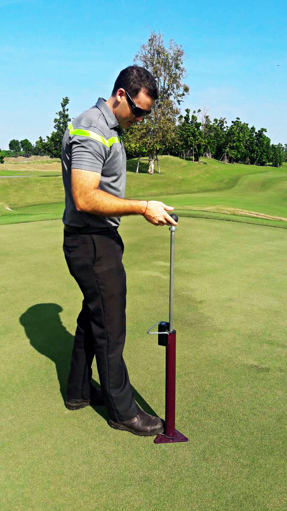 Using devices like the Trufirm (pictured above) or the Clegg Hammer, the turf manager can accurately measure the firmness of their respective playing surface and track the progress over time. Maintenance programs can then be modified where necessary to achieve the desired results.