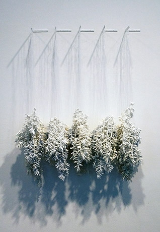 """<i>frail hope, internal distance: object IX</i>, porcelain, mono filament, beads, c/10 red. and ox. fired, h. 46"""" x w. 36"""" x d. 8"""", 2009"""