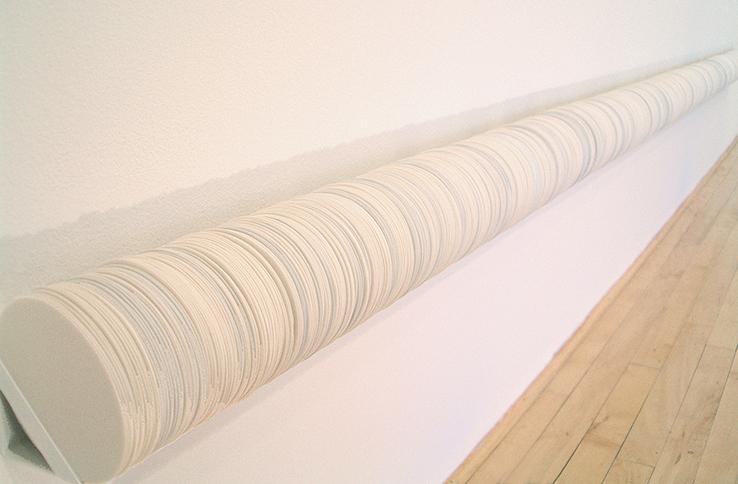 "<i>frail hope, internal distance: object IV</i>, porcelain, metal shelf, c/10 red. and ox. fired, h. 5"" x w. 144"" x d. 5"", 2005"