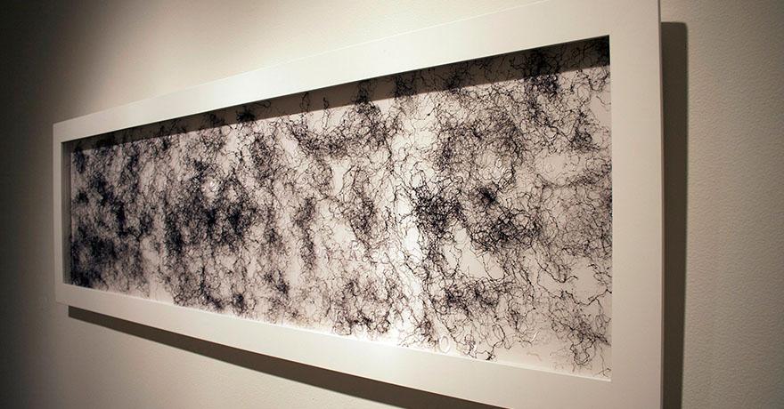 "<i>Surface of Years</i>, fabric, thread, hair, h. 24"" x w. 72"" x d. 2"", 2004"