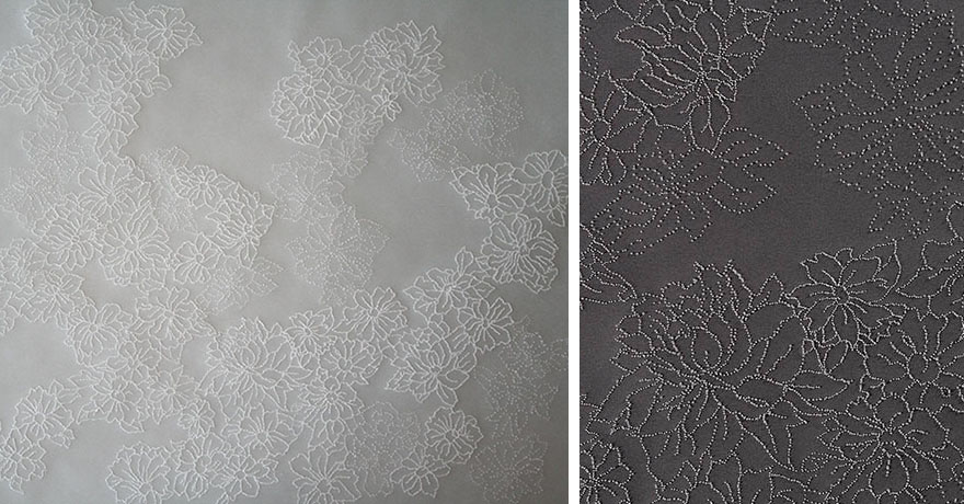 "L: detail of  <i>a lunar garden, January II</i>, vellum, paper, h. 17"" x w. 24"", 2006 R:  <i>a lunar garden, January I</i>, vellum, illustration board, h. 17"" x w. 24"", 2006."