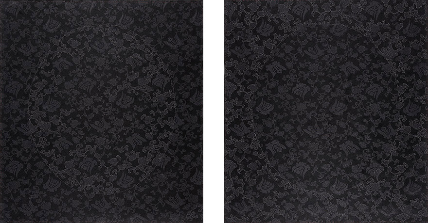 "<i>sotto voce</i> silk, thread, h. 24"" x w. 42"" (diptych), 2007."
