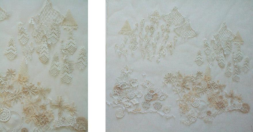 "<i>Toward the Asiatic Hills</i>, doily parts, thread, fabric, h. 29"" x w. 31"", 2010"