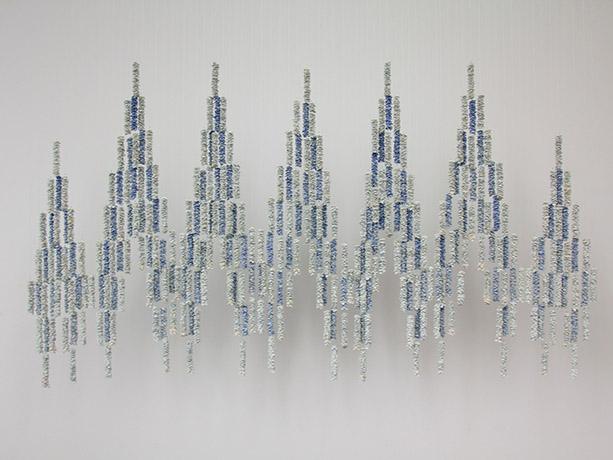 "<i>Blue Mountain</i>, porcelain, mono filament, h. 3' x w. 4' x d. 1/2"", 2012"