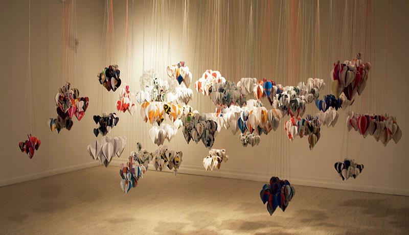 <i>Mongyudowondo</i> (Sleepwalking around the Peach Garden),  Installation View, Oakland University Art Gallery, Rochester, MI, recycled paper, thread, size variable, 2009