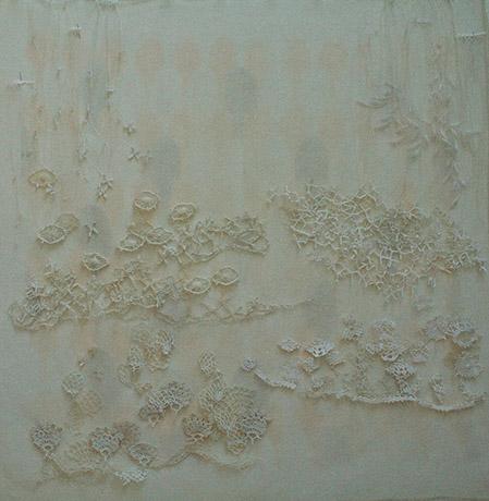 "<i>to the garden path</i>, doily parts, thread, fabric, h. 29"" x w. 27"", 2010"