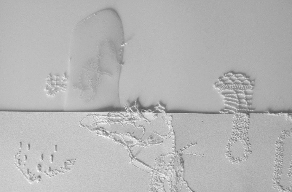 "<i>Moon Shadow</i> 2014-16 detail, paper, mixed media, h. 23"" x w. 30"""
