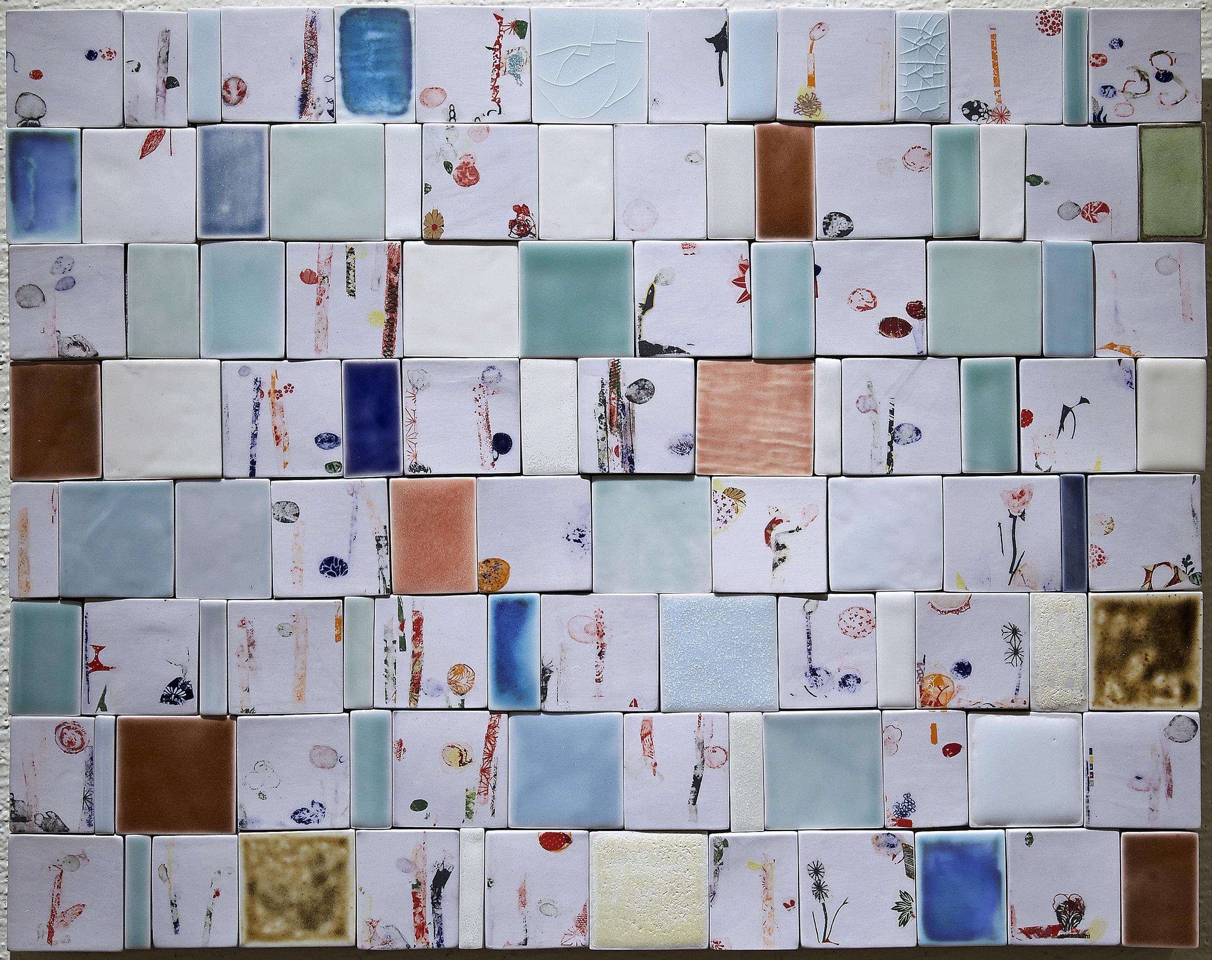 "<i>Fragments of Memory II</i>, 2016, porcelain, glaze, decal, h. 20 ½"" x w. 25 ½"""