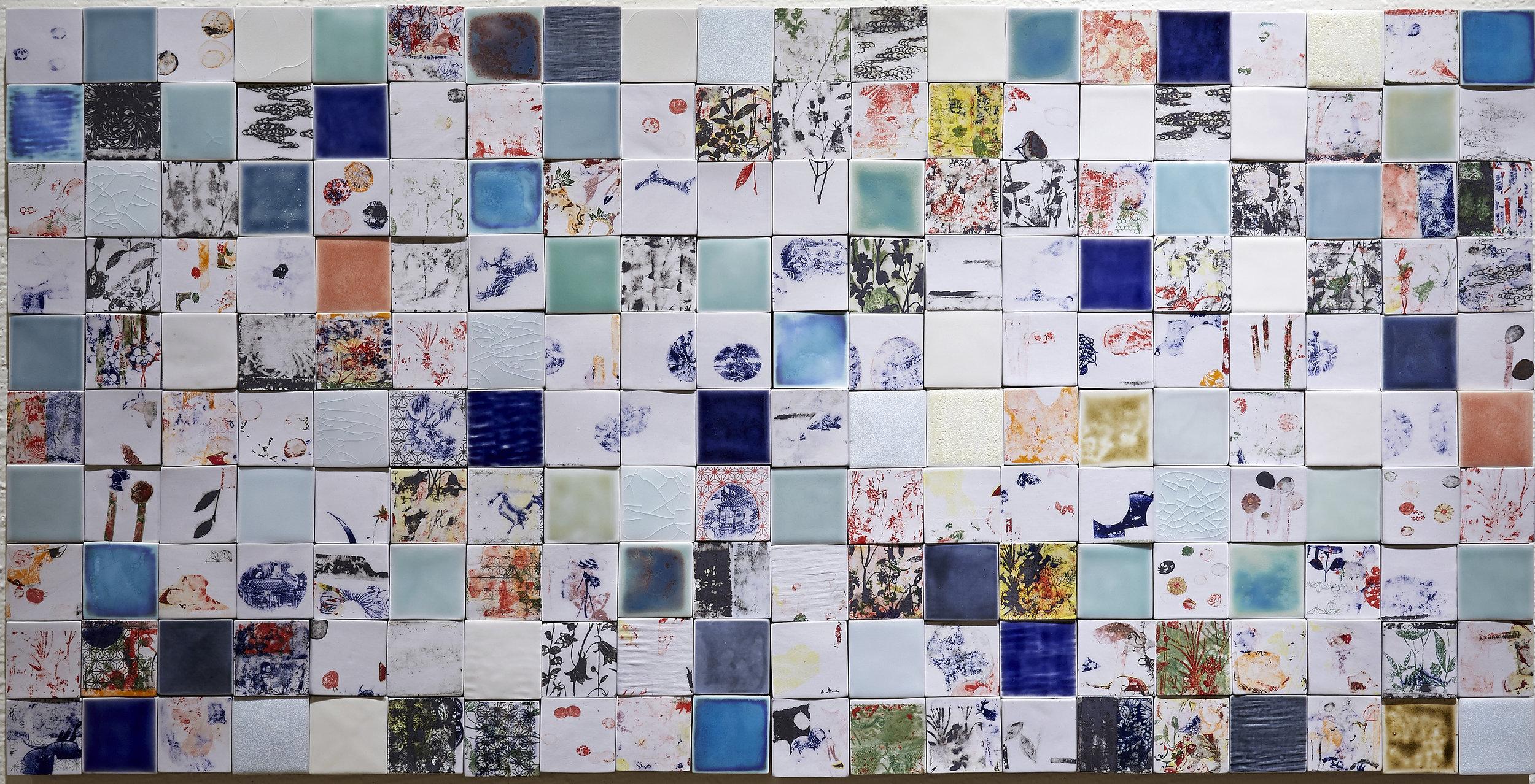 "<i>Fragments of Memory I</i>, 2016, porcelain, glaze, decal, h. 25 ½"" x w. 51"" x d. ½"""