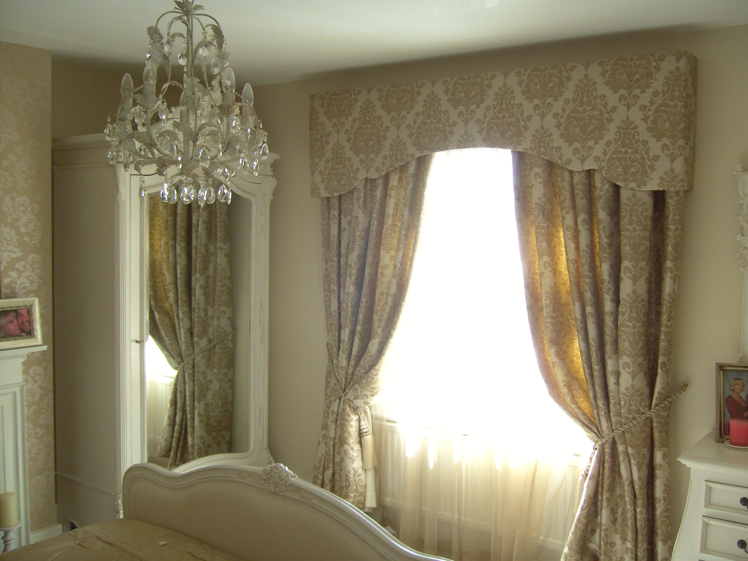 beige colour curtain with matching pelmet