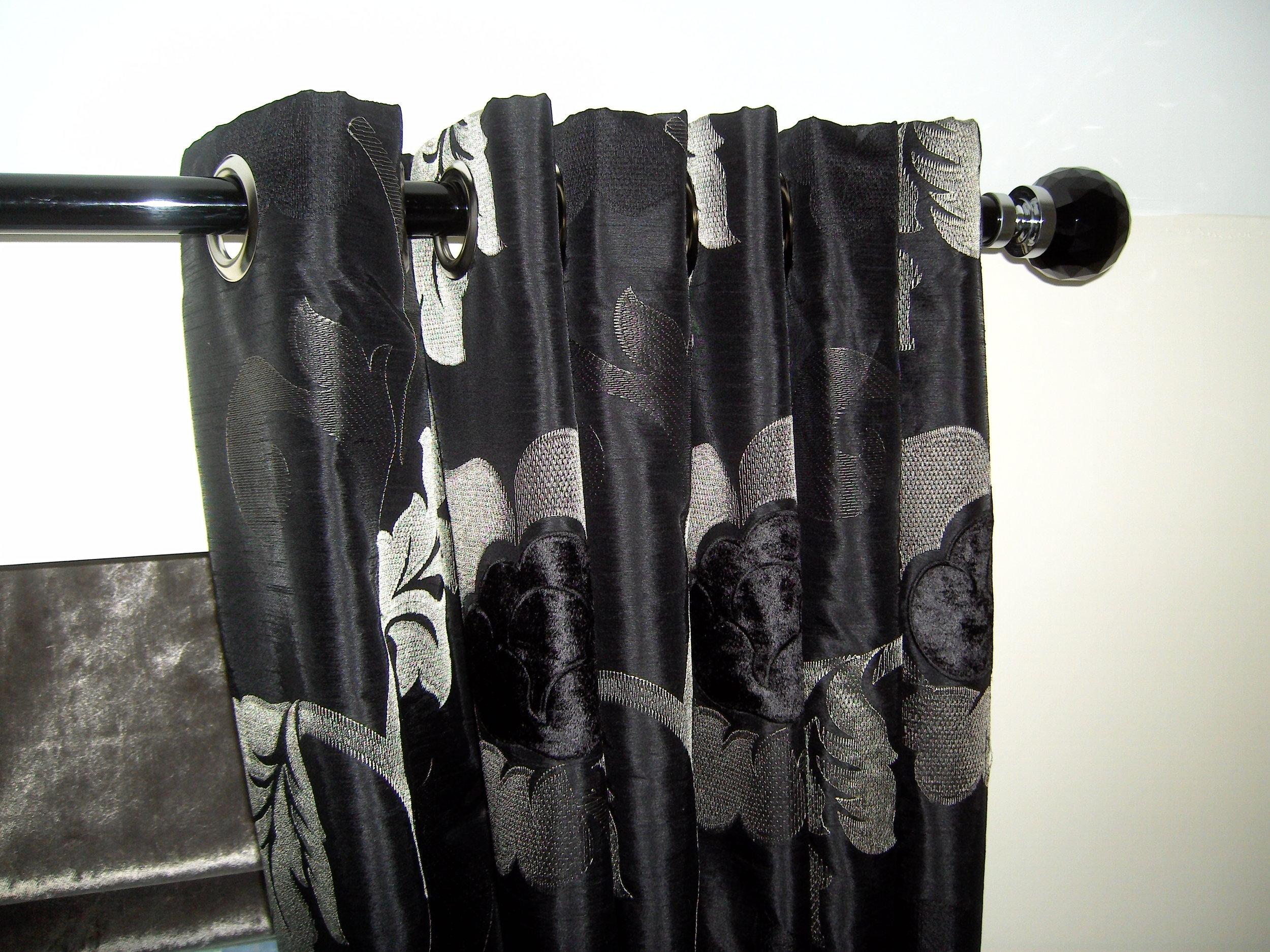 black floral curtains