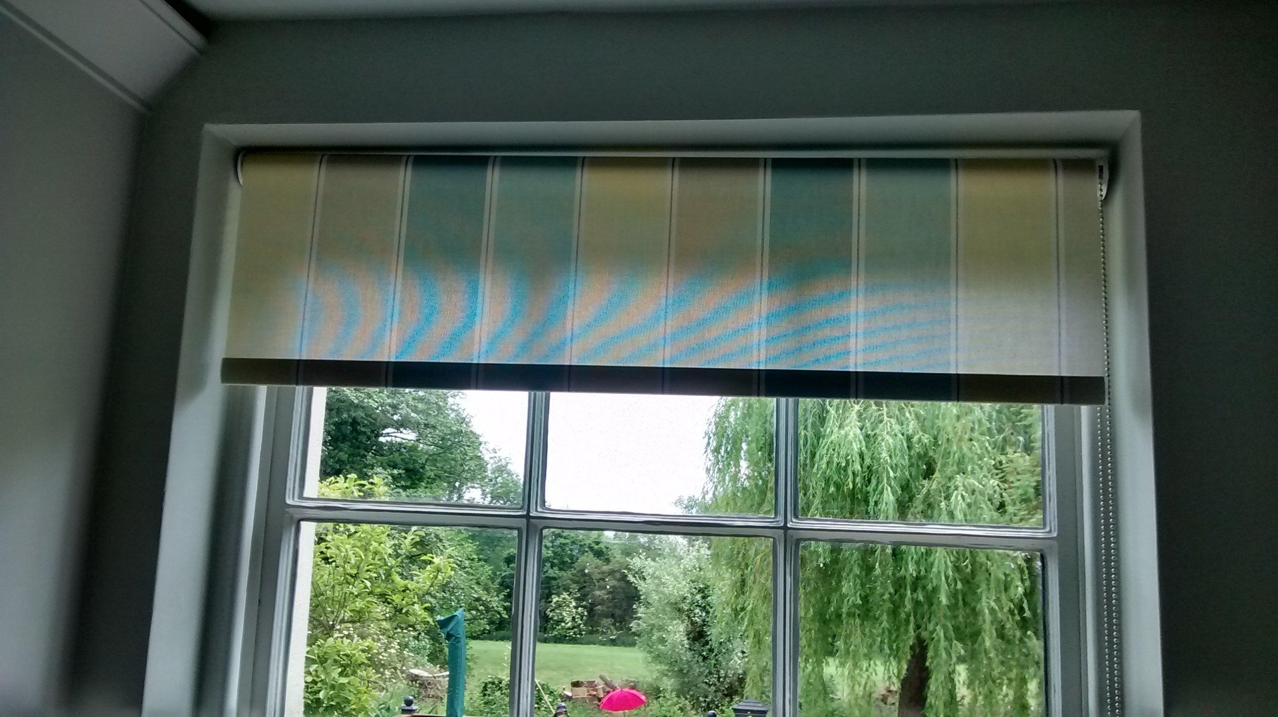 light blue stripe roman blinds