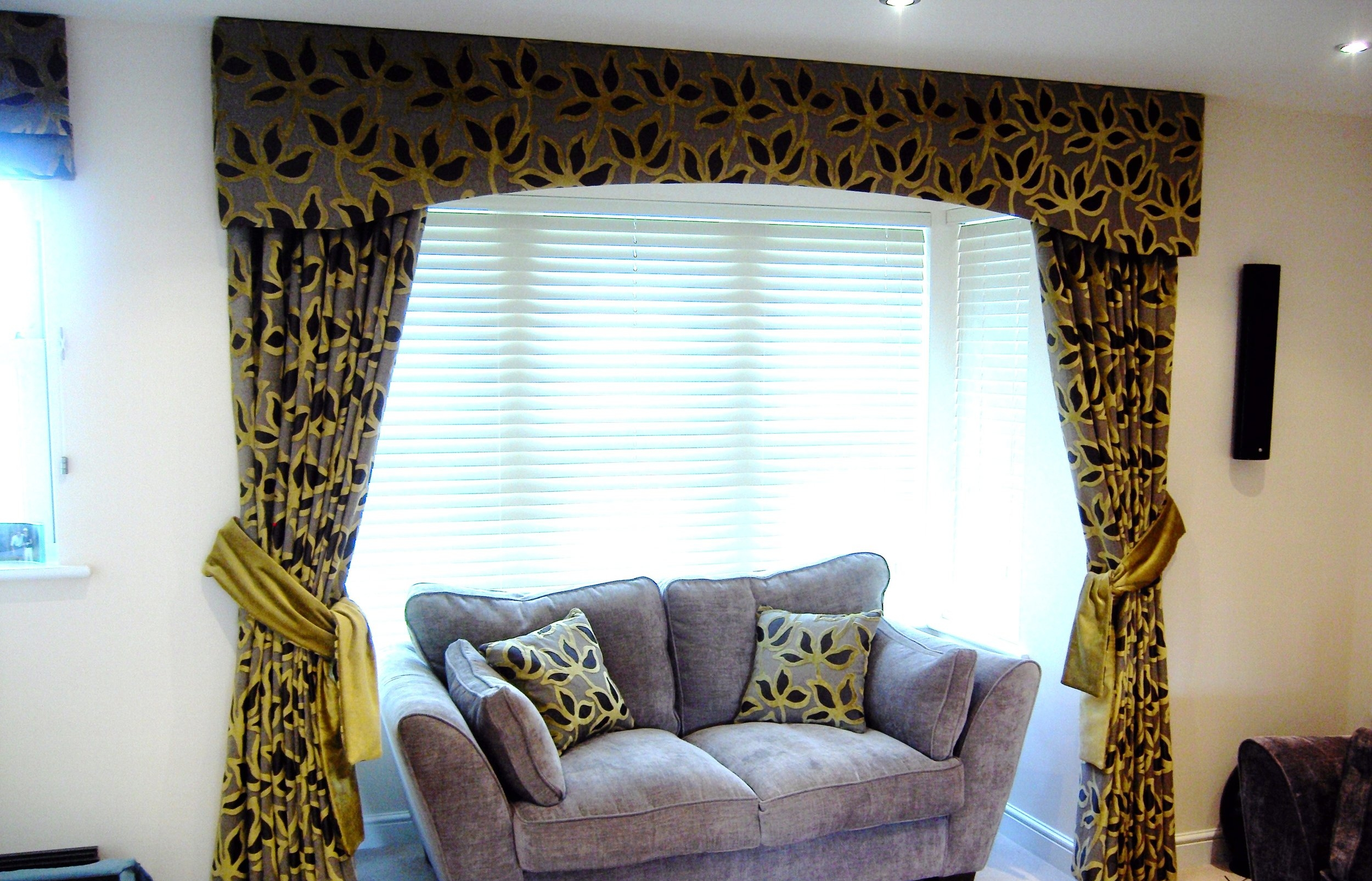 black and yellow curtains for lounge