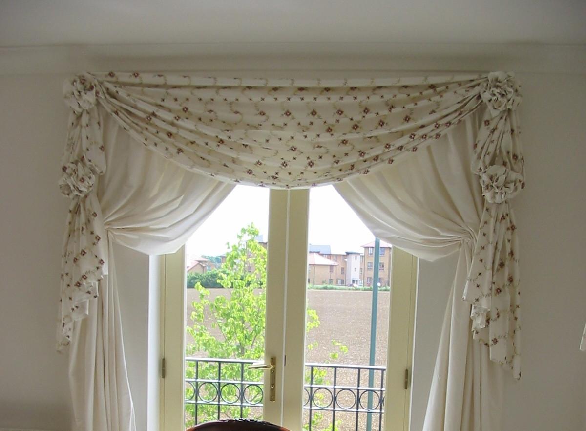 valance curtains in cream