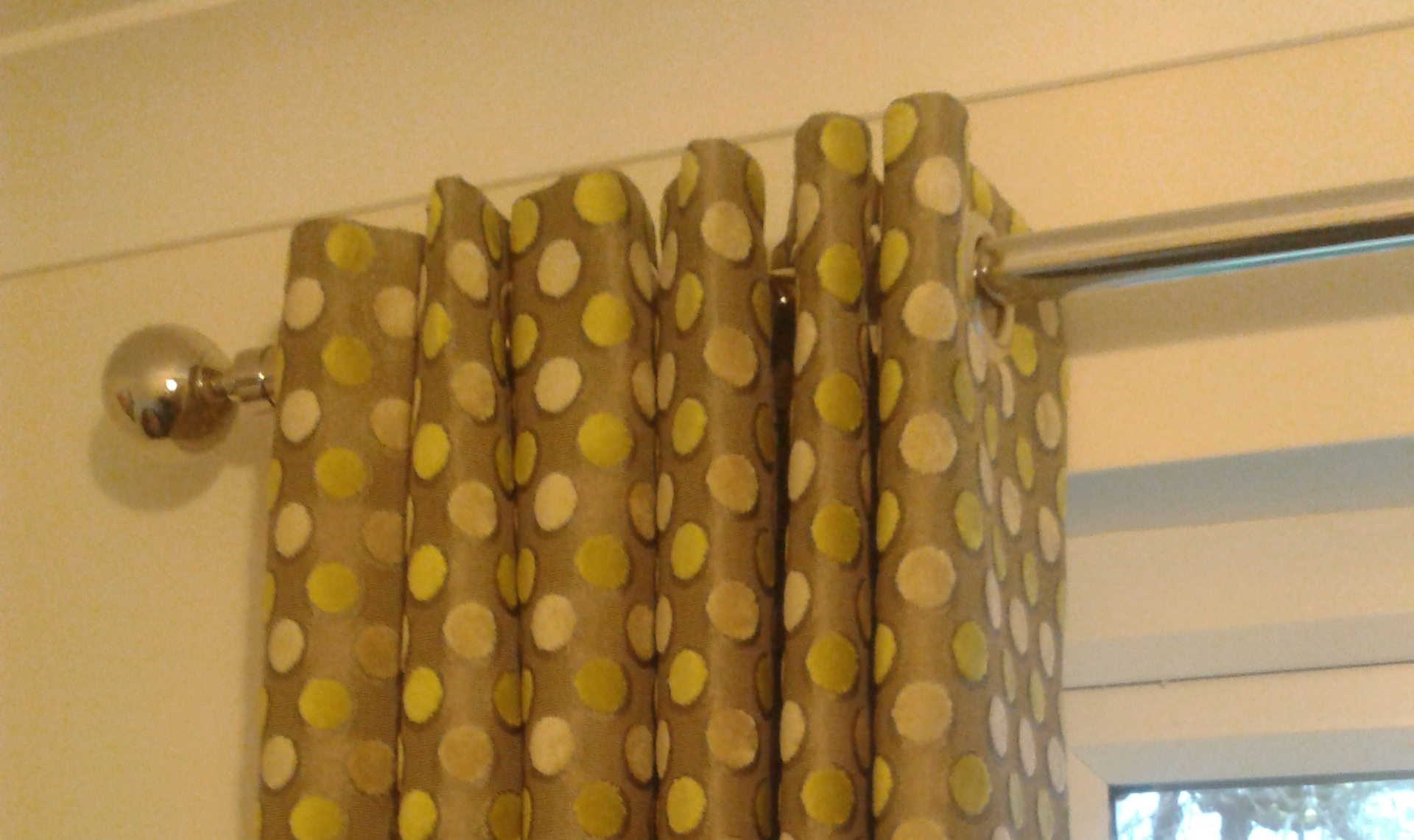 yellow dotty eyelet curtains