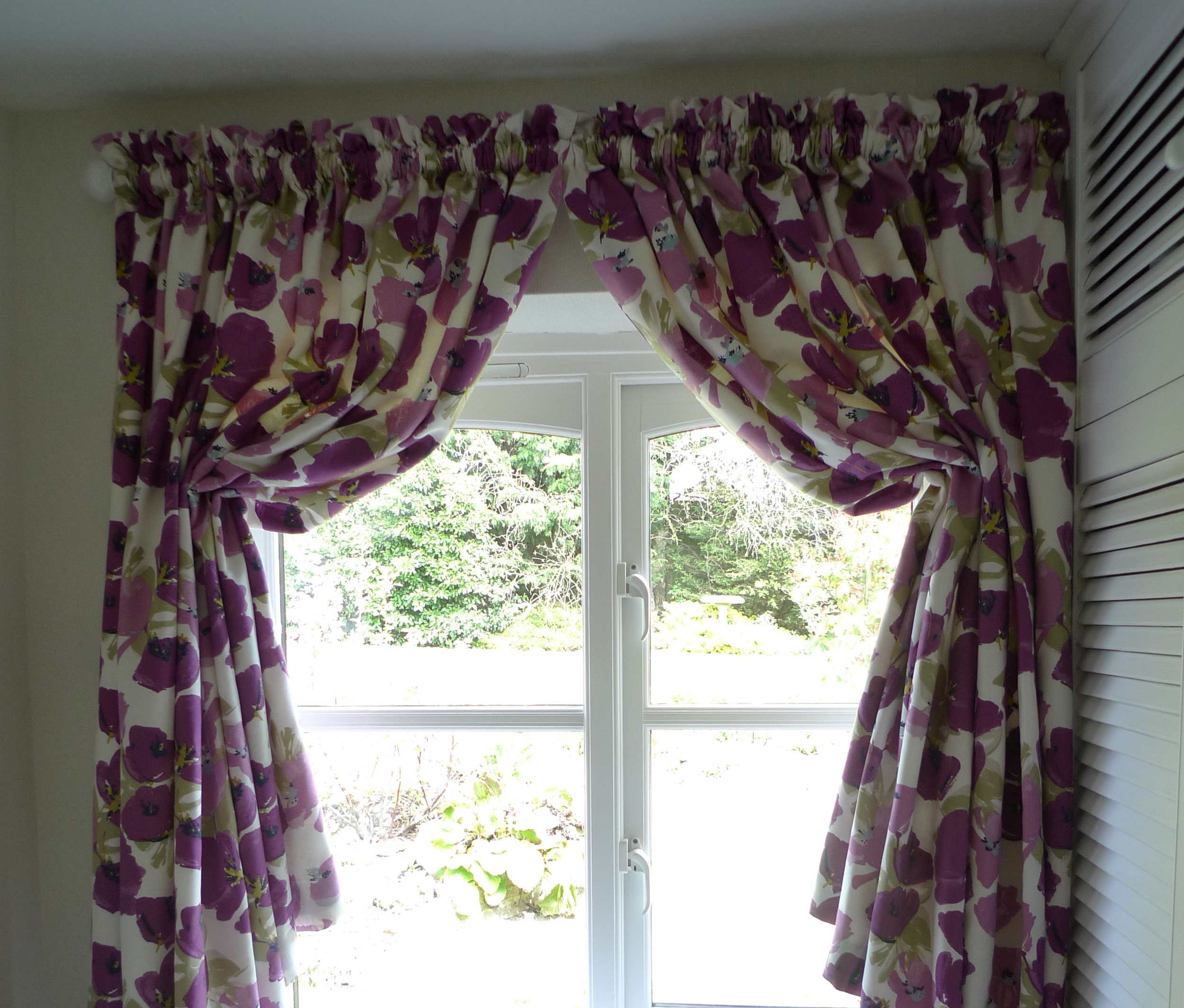 cream and purple curtains