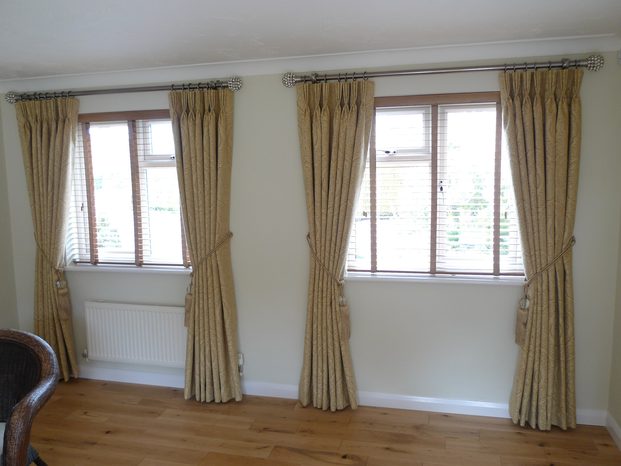 light brown curtains