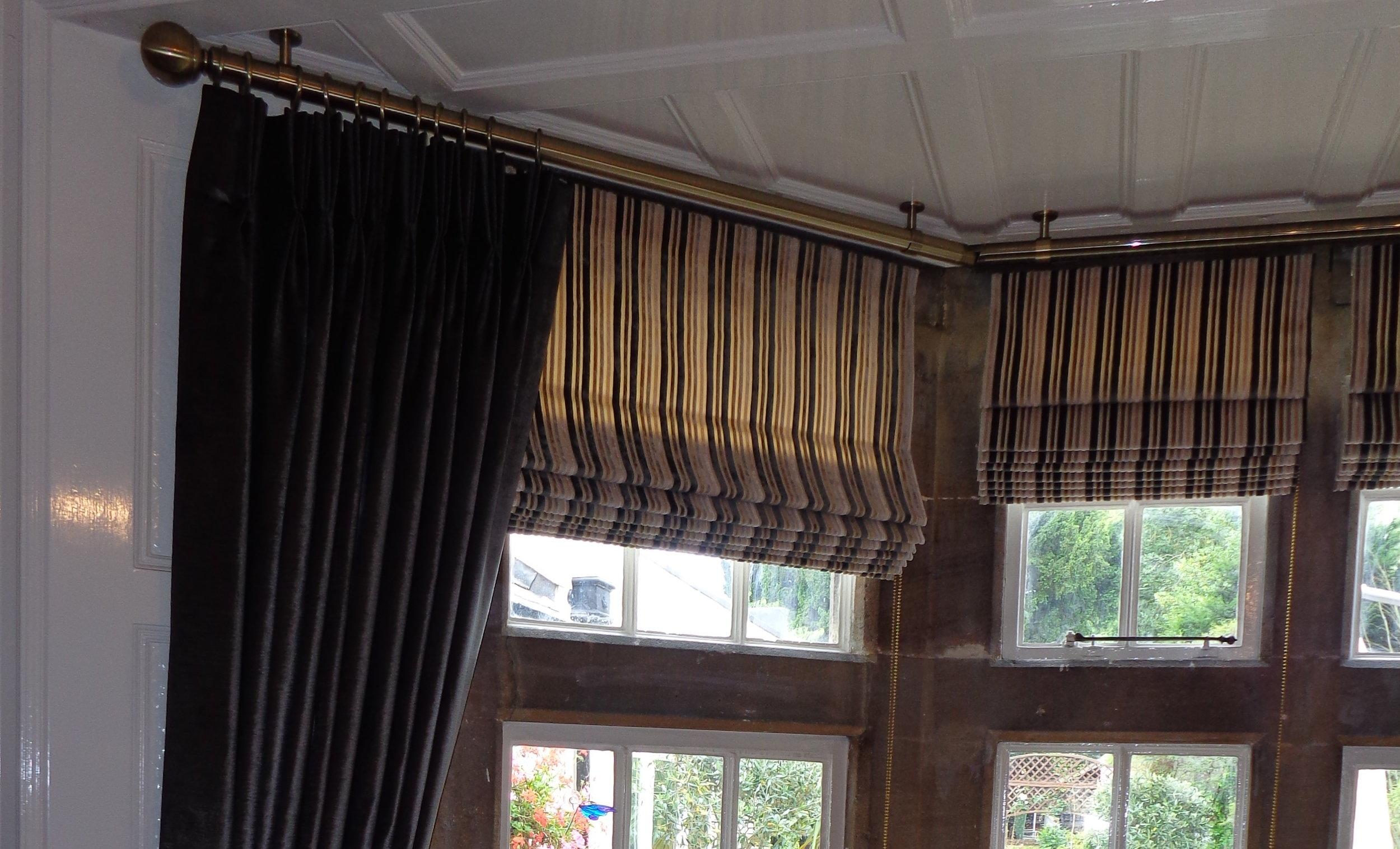 stripy brown roman blinds