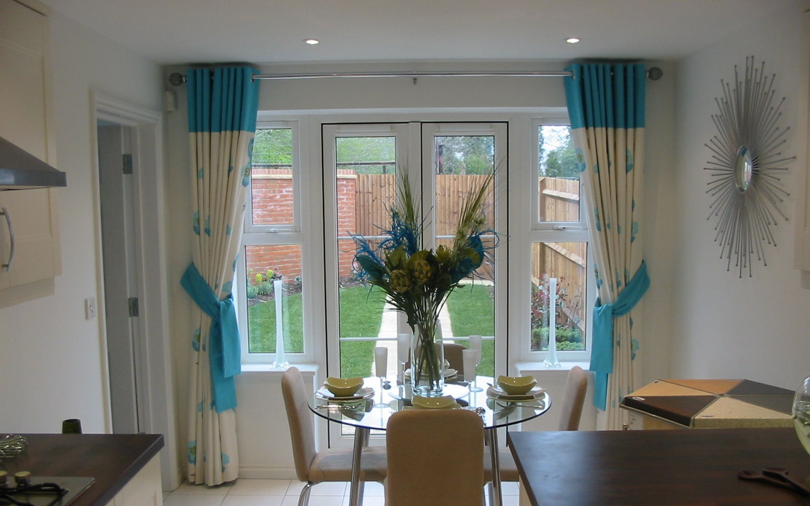 blue and cream colour eyelet curtains for dining room