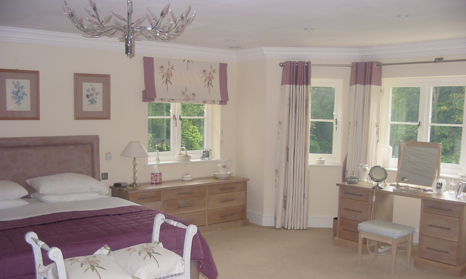 cream and purple roman blinds for a living room