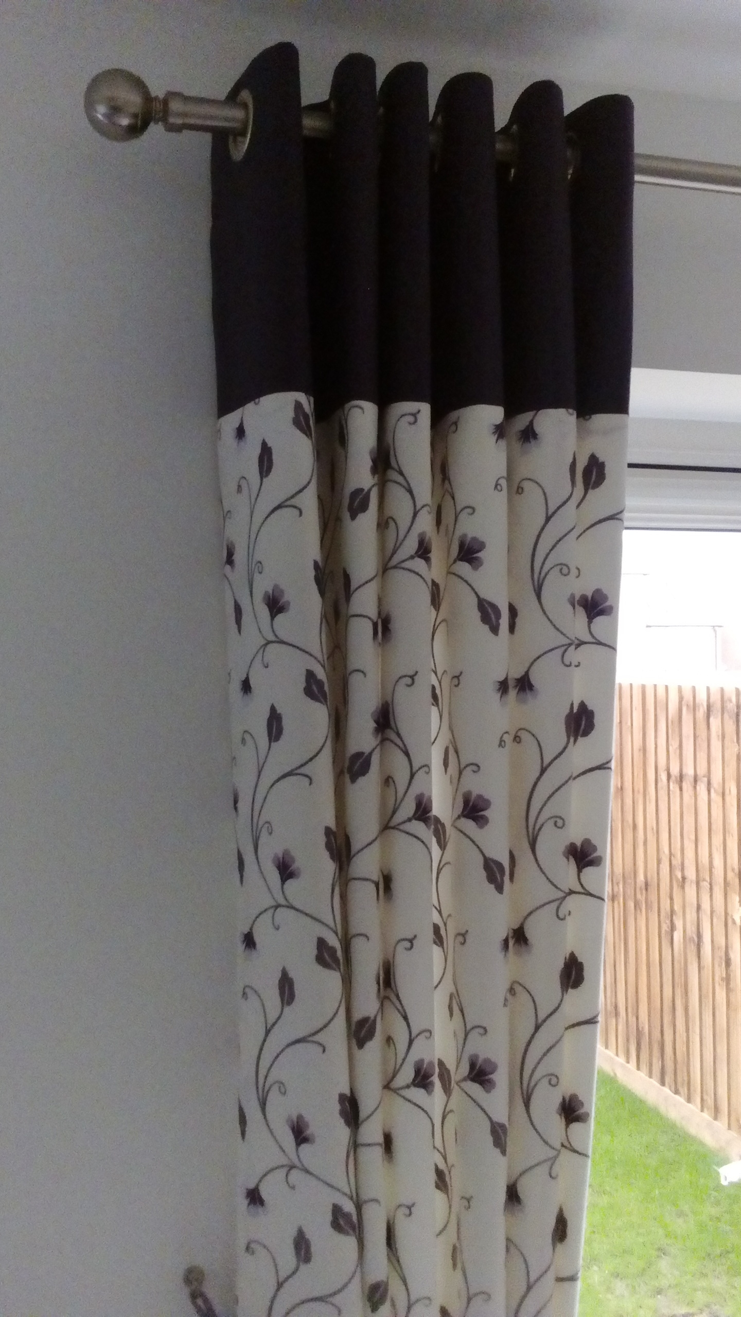 cream and purple ring top curtains