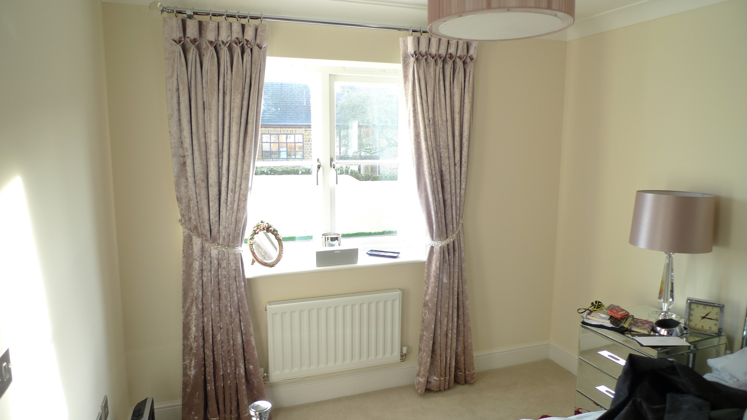 box pleat curtains in dining area