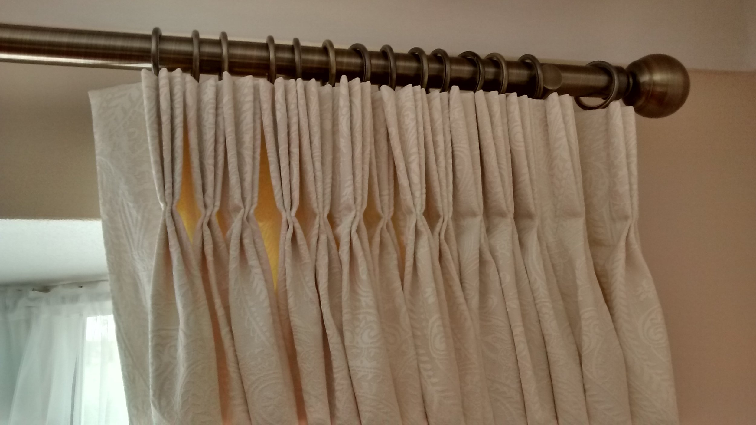 pinch pleat curtains with wooden rod